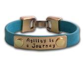 Agility is a Journey - Leather Dog Agility Affirmation Bracelet - Canine Agility Jewelry - MACH Gift