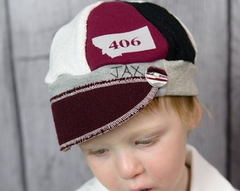 Child Jax Hat in burgundy and grey, sweater weight Jax Hat for child, 406 Montana Hat, Grizzly colored Montana Jax Hat, Team hat, Montana