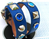 Rustic Royal Blue Leather Dog Collar Silver and Blue Studs, Size M, to fit a 14-17in Neck, EcoFriendly Leather, OOAK