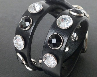 Black Leather Dog Collar with Black and White Rhinestones, Size S, to fit a 10-13in Neck, Little Dog, EcoFriendly, OOAK