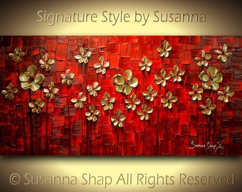 red gold landscape flowers painting original art abstract wall art large modern palette knife impasto texture painting susanna