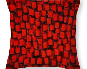 Designer Art Accent Throw Pillow -abstract red and black, interior design, customized home decor from Susanna's art