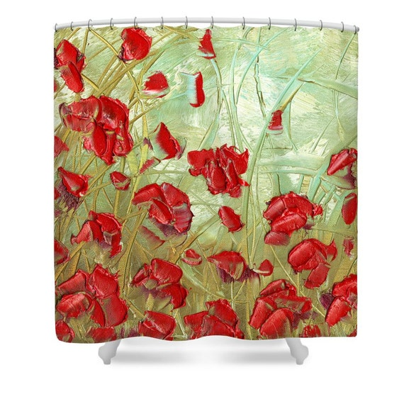 Floral Shower Curtain Art Sage Green Red Poppies By