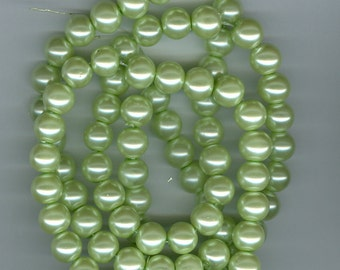 10mm Light Green Glass Pearl Round Beads 32 inch Green Bead Pearls