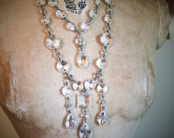 Crystal Chandelier Cabaret Flapper Necklace by Louise Black