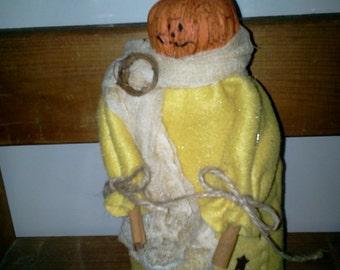 Patrick Pumpkin Halloween Handmade Fabric Doll