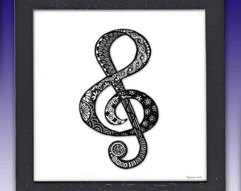 Framed Music Pen and Ink Print