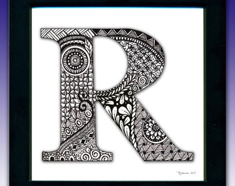 Framed 'R' Monogram Print