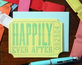 letterpress happily ever after ticket wedding greeting card yellow blue raffle carnival ticket