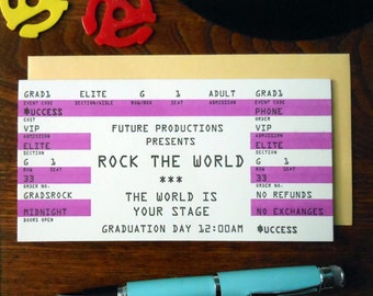 letterpress graduate rock concert ticket greeting card rock the world purple black white