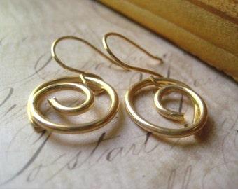 Gold Swirl Earrings, 14k Gold Fill, Gold Swirls, Handformed Swirls, Dangle Earrings, Golden Petite, Swirl Earrings, Womens Jewelry