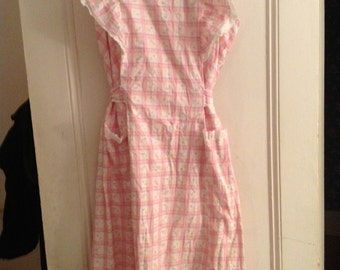 1940s cotton pinafore dress pink floral with square print larger size