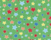 Sale (40%) HALF YARD Flower Sugar Holiday Collection - 31330-60 Multi color Stars on KIWI Green - Lecien Japanese - Cookies Christmas Winter