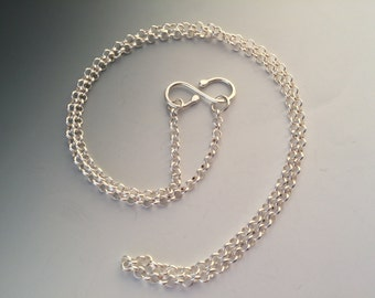 "22 Inch Sterling Silver 3.3mm Round Rolo Chain with Handmade ""S"" Hook Closure"