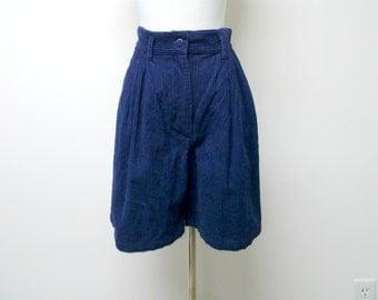 "Kyoto Kasuals . 1980s  high waist . blue corduroy shorts . size 7 / 8 . waist 26.5"""