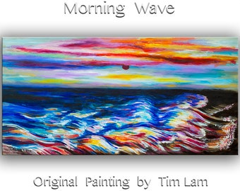 Sunrise Beach painting Original oil painting Sea Wave Art on gallery wrap canvas Ready to hang by tim Lam 48x24
