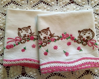 Vintage Embroidery Pillow Cases Kitten -Kitty - Cat Pair - Pink Green Brown - New Unused - Crisp Cotton Muslin Pillowcases