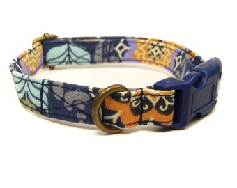 Bodhi- Organic Cotton CAT Collar Breakaway Safety Navy Blue Bohemian- All Antique Brass Hardware