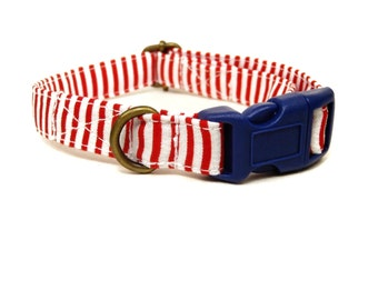 Yacht Club - Organic Cotton CAT Collar Breakaway Safety Red White Blue Nautical Striped - All Antique Brass Hardware