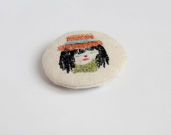 little animals pin - girl with hat