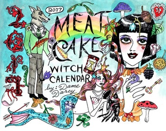COLOR Dame Darcy, Meat Cake , original art, hand painted, comix, comics, manga, print, zine, 2017 witchcraft calendar, cover art