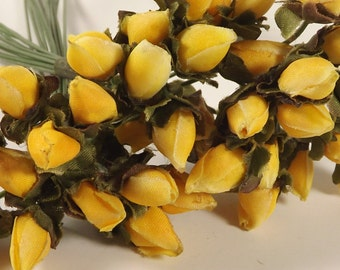 Silk Flower Buds Yellow Dried-Look Crafts Weddings Corsages Dolls Fascinators Flower Crowns 3 Bunches 36 Individual Stems
