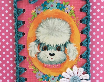 Vintage Playing Card Book Mark / Ornament / Tag -  Crochet Groovy Poodle Dog