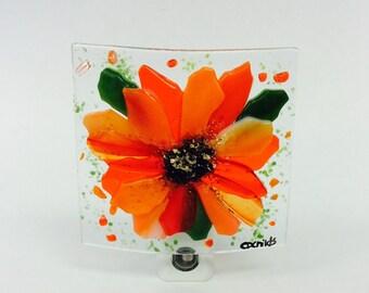 Fused Glass Night Light (Orange Flower)