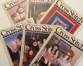 Cross Stitch and Country Crafts 6 magazines 1987, 1988 and 1990