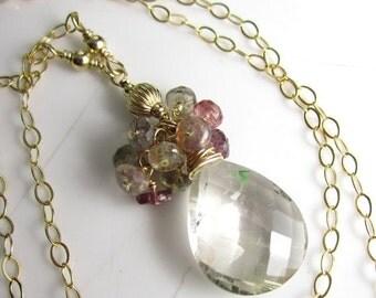 SALE Gem Drop Necklace - 14k Gold Fill, Sapphire, and Golden Rutilated Quartz