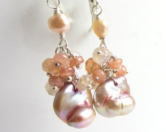 Sweet Peach Earrings - Baroque Freshwater Pearls with Peach Quartz and Sunstone