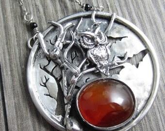 SALE Harvest Moon Necklace - Sterling Silver Carnelian Halloween Scene