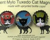 Cat Magnets - Silent Mylo Tuxedo Cat Magnets - Cat Art - Bottle Cap Magnets - Packaged Gift Set - Gift for Cat Lover - Cat Gifts
