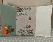 Pillow case pillow cover light green wool  linen needle felted squirrel strawberry flower RESERVED