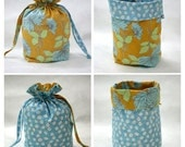 Drawstring Project Bag, Amy Butler Chrysanthemum in Mustard Belle Series