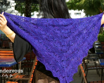 READY MADE Purple Hand Knitted Lace Shawl