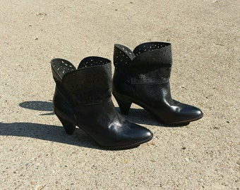 Size 6 black leather booties
