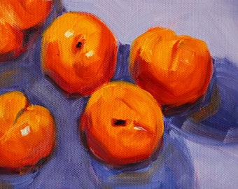 Original Still Life Oil Painting, Small 6x8 Canvas, Fruit Art, Orange Peaches, Purple Shadows, Kitchen Wall Decor, Lavender Red Yellow
