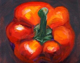 Red Pepper Still Life Oil Painting, Original 6x6 on Canvas, Small Kitchen Decor Art, Minimalist Design, Food, Bell Pepper, Southwestern