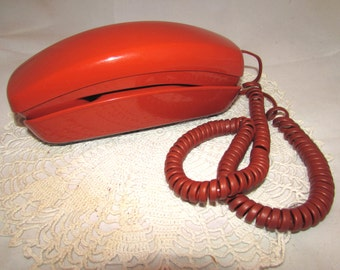 Vintage Bright Rust Orange Color Trimline Rotary Telephone, 60s, Western Electric, Pacific Northwest Bell Phone, retro