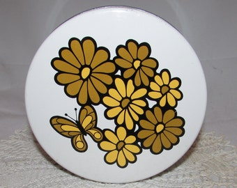 Vintage Butterfly Flowers Cookie Tin Made In Japan 60s Greenish Brown Yellow