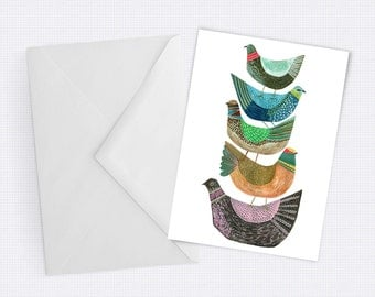 Stacked Birds - Fun, Quirky Greeting Card - Blank inside for any occassion