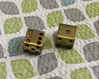 5 Pair of Awesome Vintage Brass Mini Dice Charms