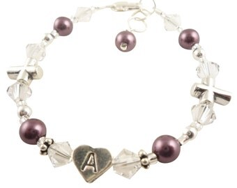 Silver, pearl and crystal Baptism Bracelet, First Communion, Christening Bracelet, jewelry cross, burgundy pearl