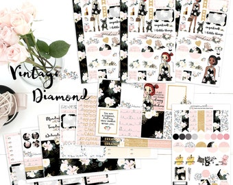 Vintage Diamond *Choice of girl* planner stickers, Happy Planner, ECLP, Kate Spade, KikkiK, Filofax, Midori, MAMBI