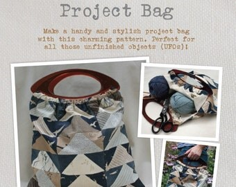 """Project Bag Sewing Pattern - A charming pattern for a stylish projects bag made from a single 5"""" charm pack"""