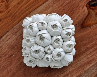 DISCOUNTED Rosebud - Luxe Porcelain Micro Tile - Ceramic Wall Sculpture Wall Tile Sculpture Wall Sculpture