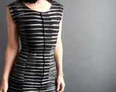 Modern Lovers ~ iheartfink Handmade Hand Printed Womens Short Sleeve Black Metallic Silver Stripes Jersey Top