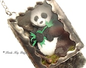 Giant Panda Bear Necklace Or Ornament Soldered Box Mixed Media One-of-a-Kind Diorama