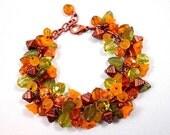 Flower Charm Bracelet, Orange Blossoms, Colorful and Copper Charm Bracelet, FREE Shipping U.S.